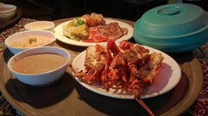 Puerto Nuevo Style lobster, with rice, beans and fluor tortillas